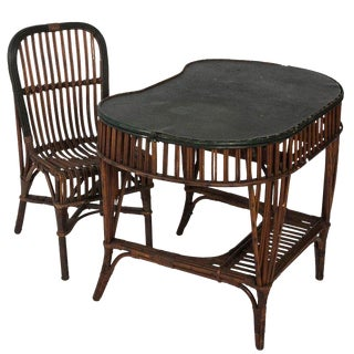 Late 19th Century Vintage Stick Wicker Victorian Desk Set- 2 Pieces For Sale