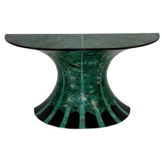A Stunning Console in Malachite & Brass With Palm Leaf Detail