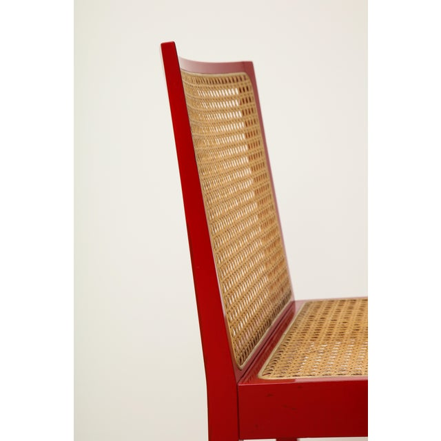"Set of Four Red Lacquered ""Bankshuhl"" Chairs by Willy Guhl for Stendig For Sale - Image 9 of 13"
