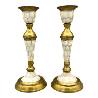 1970's Mother of Pearl Shell and Brass Candlesticks - a Pair For Sale