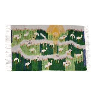 Snowy Egret Handmade Swedish Flat Weave Kilim Rug For Sale