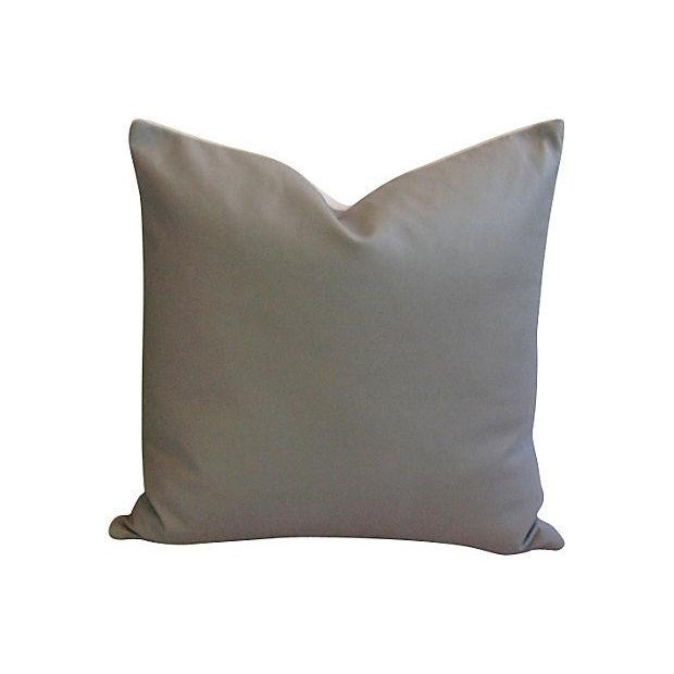 Custom Tailored Italian Gray Leather Feather/Down Pillows - Pair - Image 3 of 7