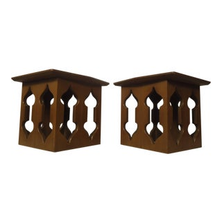 Mid-Century Sculpted Teak Side Tables - A Pair