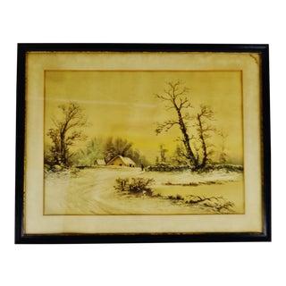 Antique Framed Mixed Media Country Landscape Scene For Sale