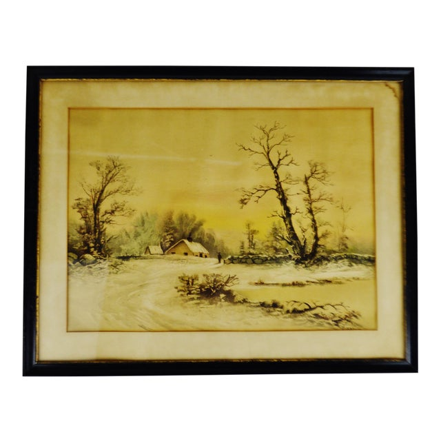 Antique Framed Mixed Media Country Landscape Scene For Sale