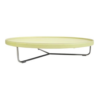 Kehl Brazilian Modern Canary Yellow Leather Coffee Table on Chrome Tube Frame Base