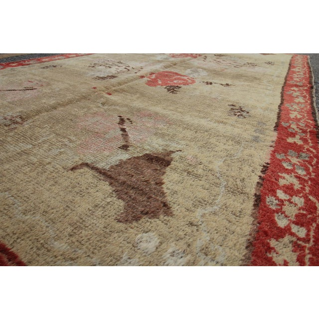 Vintage Tribal Antique Turkish Oushak Hand Knotted Rug - 4'5 X 7'8 For Sale - Image 5 of 6