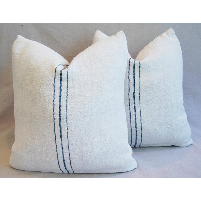 Vintage French Grain Sack Textile Pillows - A Pair - Image 9 of 10