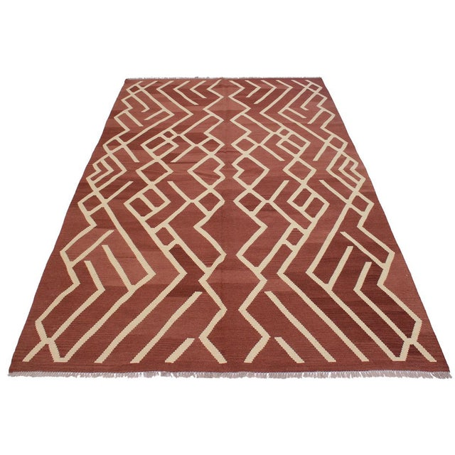 2000 - 2009 Modern Bauhaus Annabell Brown/Ivory Hand-Woven Kilim Wool Rug - 6'10 X 9'8 For Sale - Image 5 of 8