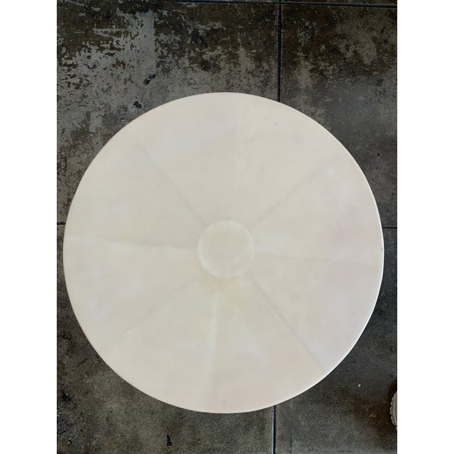 White Contemporary Vellum Side Table For Sale - Image 8 of 9
