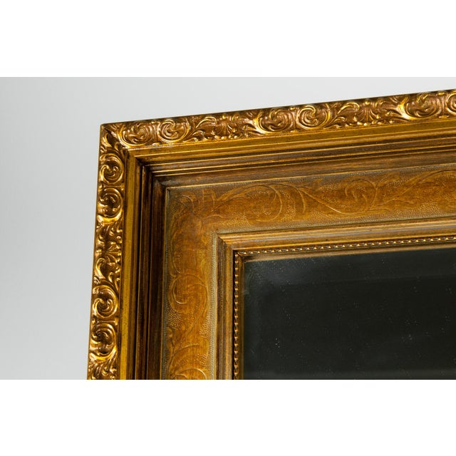 Contemporary Vintage Gilded Wood Framed Hanging Wall Mirror For Sale - Image 3 of 10