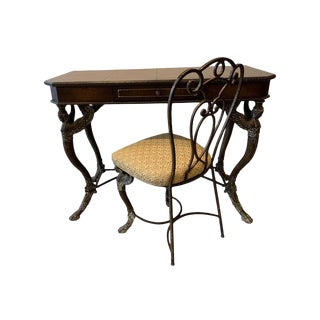 20th Century Neoclassical Leather and Iron Console Writing Desk With Chair - 2 Pieces For Sale