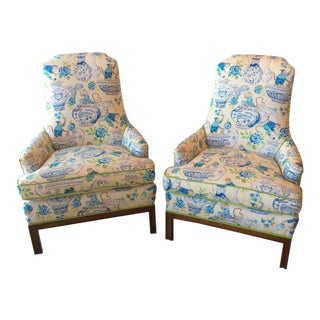 Mid-Century Modern Chinoiserie Newly Upholstered Arm Chairs - a Pair For Sale