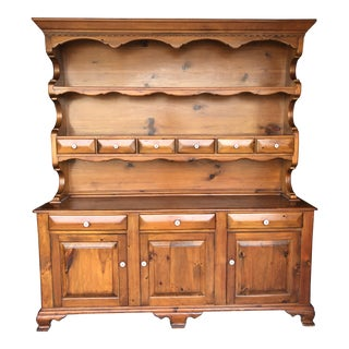 1950s British Colonial Pine Hutch For Sale