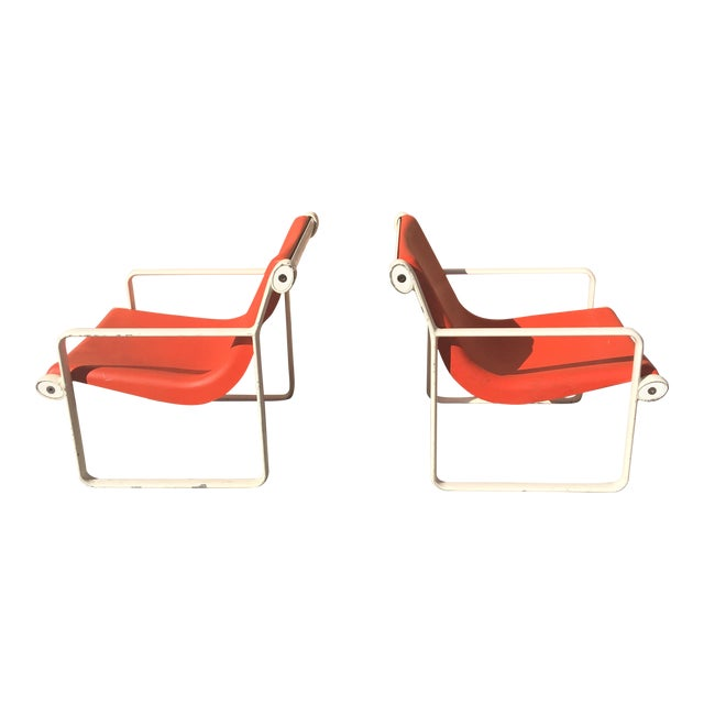 Knoll Iconic Orange Shell Lounge Chairs - A Pair For Sale
