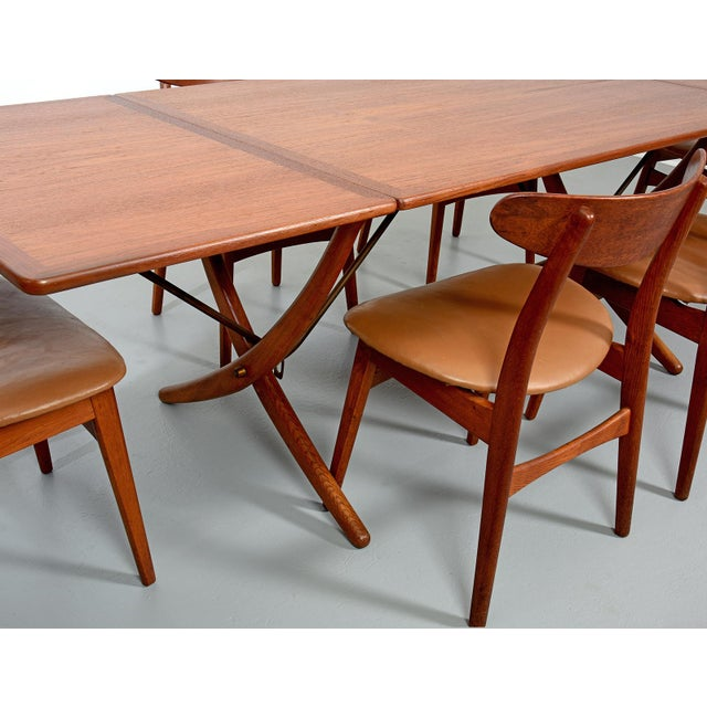 Gold Hans Wegner Dining Set, Model At-304 Dining Table and Model Ch-30 Dining Chairs For Sale - Image 8 of 10