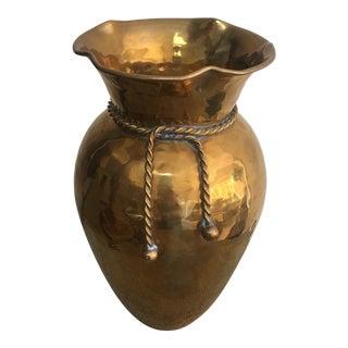 Vintage Hammered Brass Rope Tassel Vase For Sale