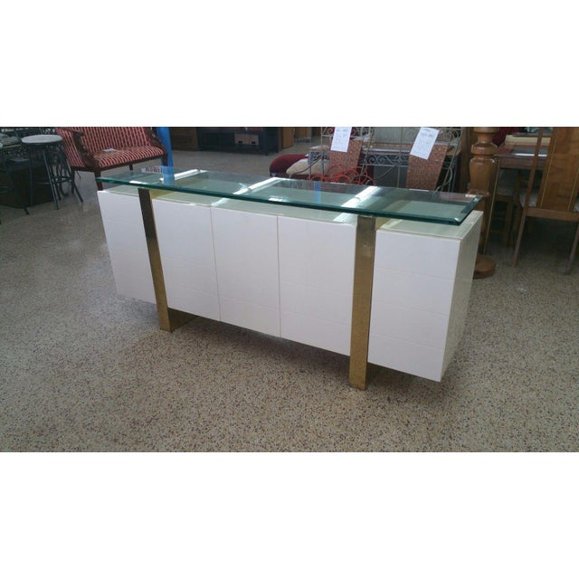 Chic 20th century designer Italian style lacquer & brass sideboard with floating glass top sold as found in vintage...
