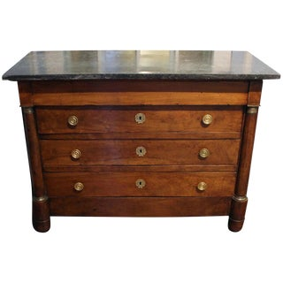 French Empire Walnut With Marble Top Commode