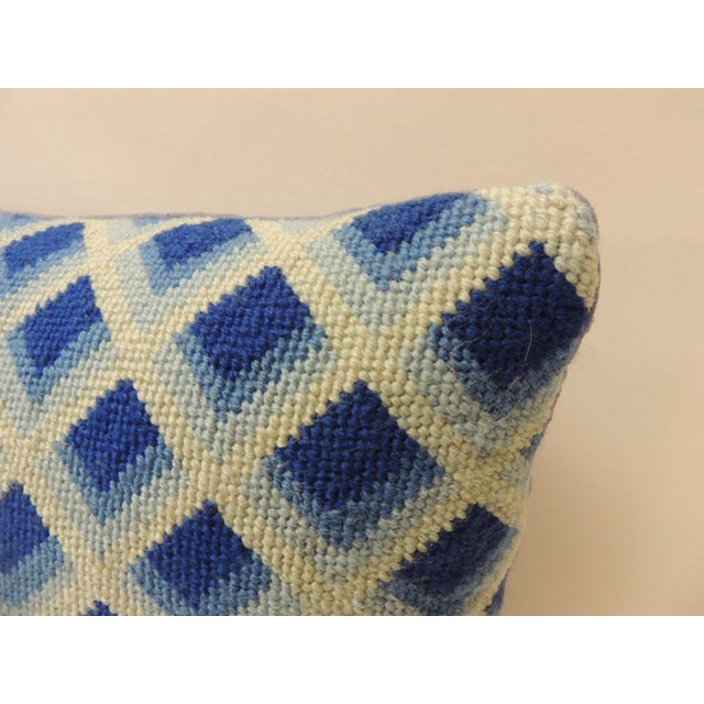 Modern Vintage Blue and White Tapestry Decorative Bolster Pillow For Sale - Image 3 of 5