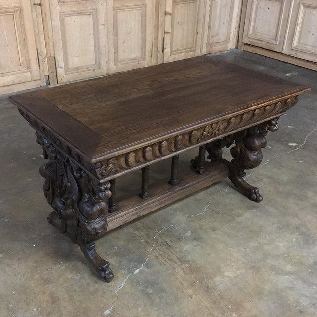 Mid 19th Century 19th Century Renaissance Library Table With Gryffins For Sale - Image 5 of 12