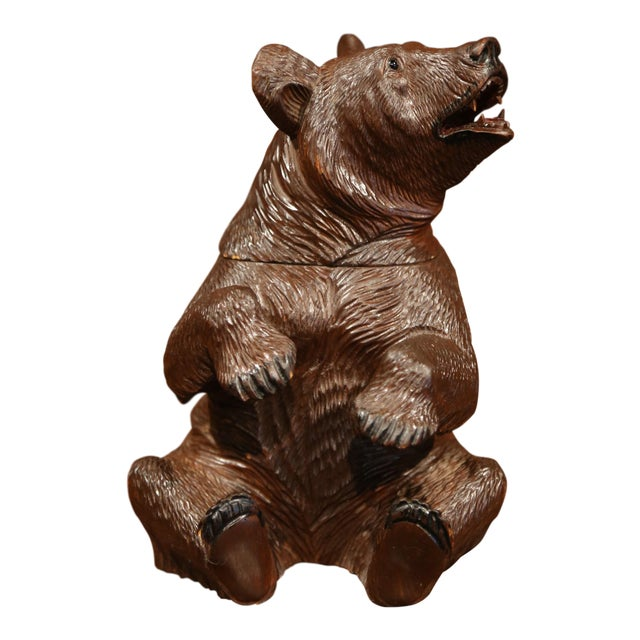 19th Century Swiss Carved Black Forest Tobacco Bear Sculpture With Glass Eyes For Sale