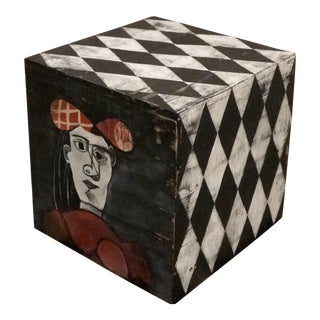 Vintage Painted Wood Cube For Sale