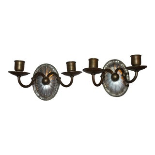 Pair of 19th C. Signed E.F Caldwell Thick Faceted Crystal and Bronze Sconces For Sale