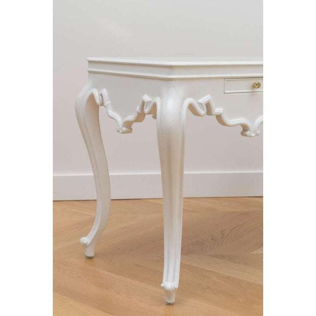 White Italian Lacquered Partner Desk For Sale - Image 8 of 10