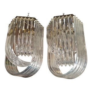 Mid-Century Modern Lucite Light Fixtures - A Pair For Sale