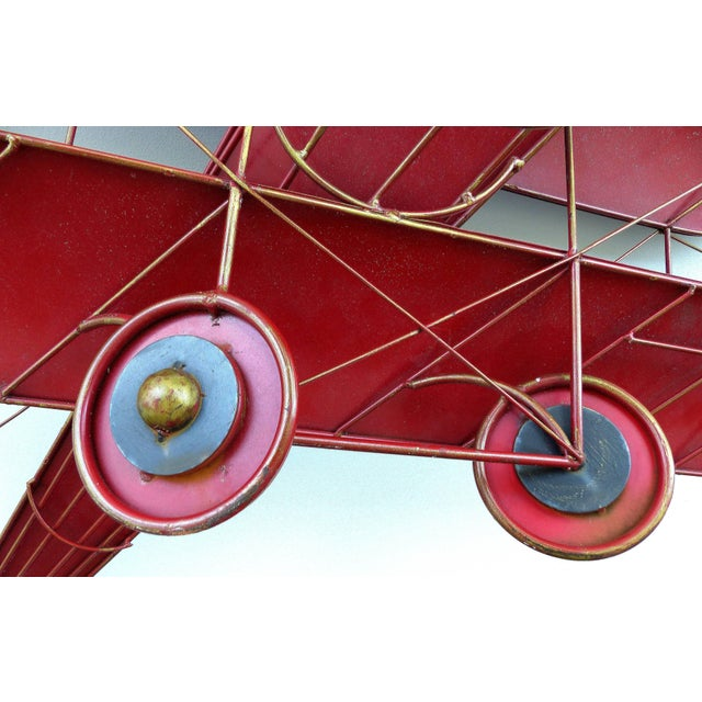 Large Three Dimensional Iron and Brass Wall Sculpture of an Airplane in Flight For Sale In Miami - Image 6 of 10