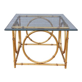 Modern McGuire Gold Tone Iron & Glass Top Center Table For Sale