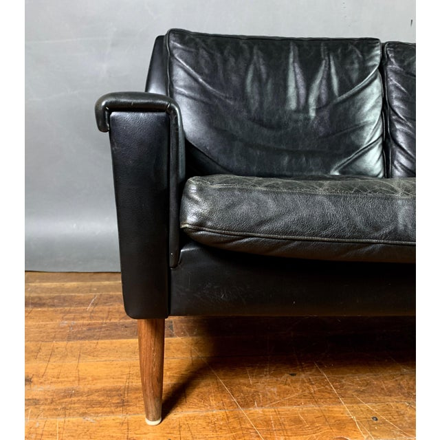 Mid-Century Modern Early 1970s Danish Flared-Arm 3-Seat Sofa For Sale - Image 3 of 9