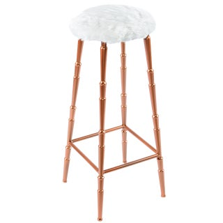 Gigi Bar Stool with White Fur Seat For Sale