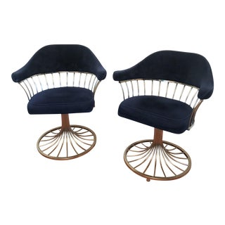 70s Brass Platner Inspired Chairs - A Pair