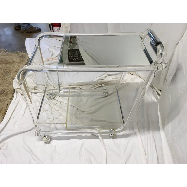 70s Acrylic W/ Chrome Bar Cart For Sale - Image 10 of 13