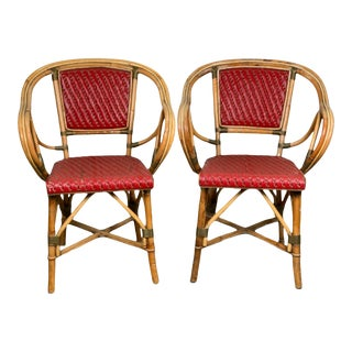 Red French Maison Gatti Bistro Cafe Chairs - a Pair For Sale