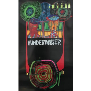 1975 Original Hundertwasser Exhibition Poster - Austria Shows the Continents For Sale