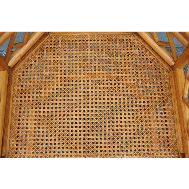 Tan Vintage Palm Beach Regency Rattan Armchair For Sale - Image 8 of 11