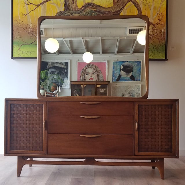 1960s Lane Perception Nine Drawer Dresser With Mirror For Sale - Image 13 of 13
