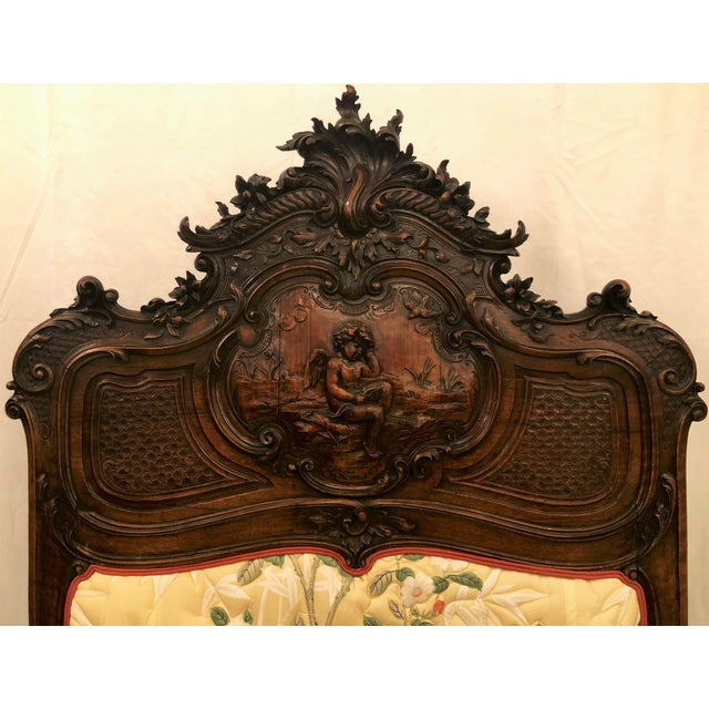 Pair Antique French Museum Quality Walnut Beds, Circa 1860-1880. One of the Finest Examples of Wood Carver's Art of the 19th Century. For Sale - Image 4 of 9