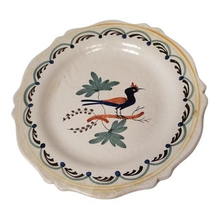 Early 19th C. French Quimper Blue Gray Pottery Plate For Sale