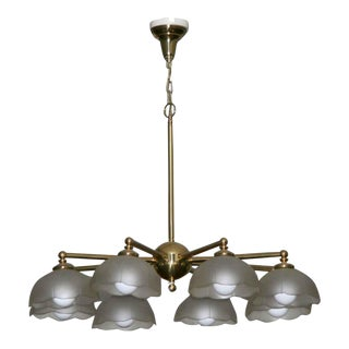 Traditional Brass & Milk Glass Parlor Light For Sale
