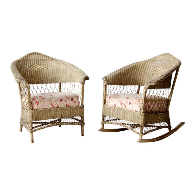 Antique Wicker Chair and Rocker For Sale