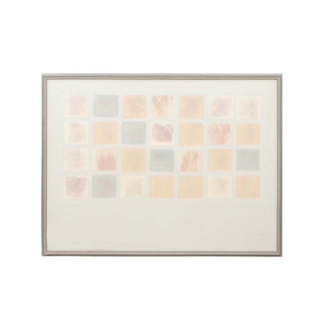 Decorative Brushed Pastel Squares Painting Signed Pepin For Sale - Image 9 of 9