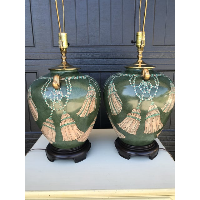 Hollywood Regency Vintage Hand Painted Tassel and Rope Lamps-A Pair For Sale - Image 3 of 13