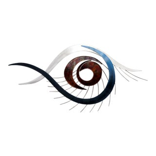 """Curtis Jere """"The Eye"""" Large Enameled Steel Wall Sculpture For Sale"""