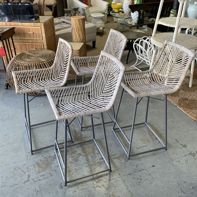 Vintage White Washed Rattan Barstools - Set of 4 For Sale In West Palm - Image 6 of 10