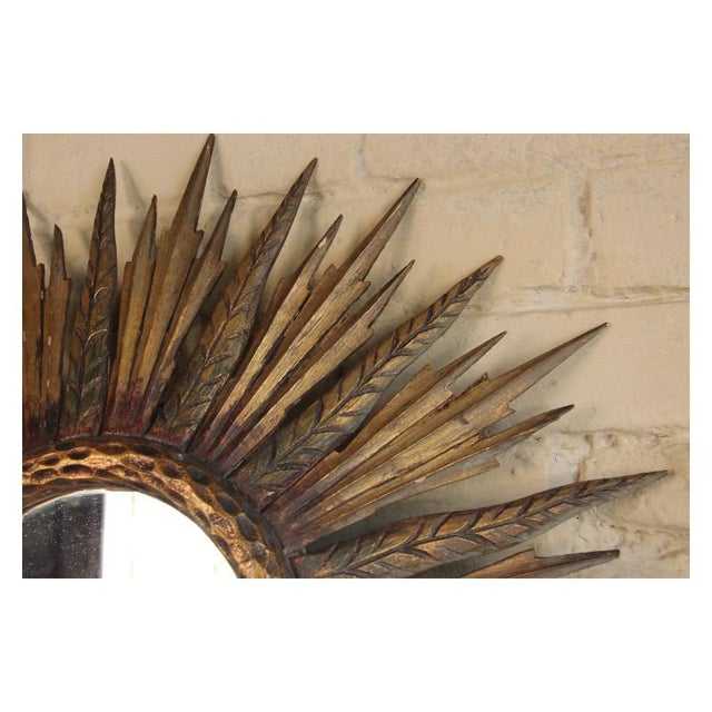 Glass Midcentury French Sunburst Mirror With Feathered Rays and Original Mirror Glass For Sale - Image 7 of 8