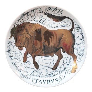 Vintage Piero Fornasetti Porcelain Zodiac Plate, Taurus, Astrali Pattern, Dated 1968 For Sale